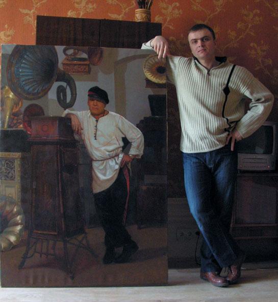 Александр Левченков. 2005 с портретом Дерябкина ВИ