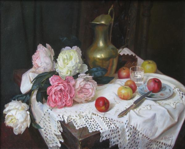 Александр Левченков. Цветы и медный кувшин