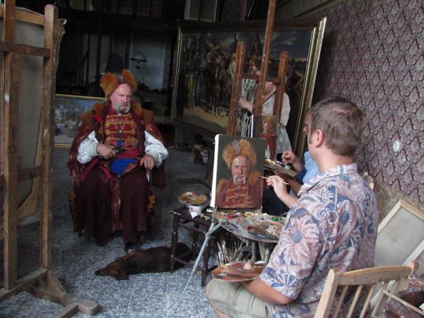 Александр Левченков. Работа над портретом атамана