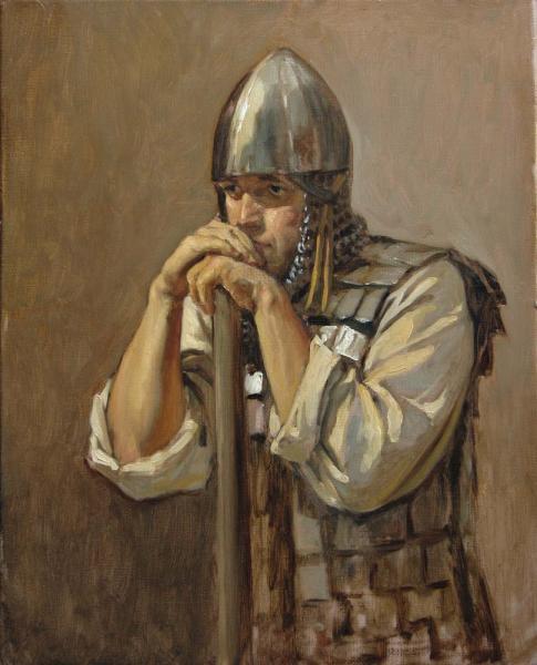Александр Левченков. Витязь опирающийся на древко