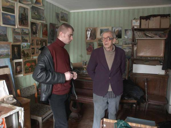 Александр Левченков. 2003 Во время работы над портретом Ветрова И.Ф.